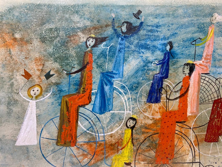 Irving Amen Girls Bicycle Parade Original Oil Painting c.1960s 5
