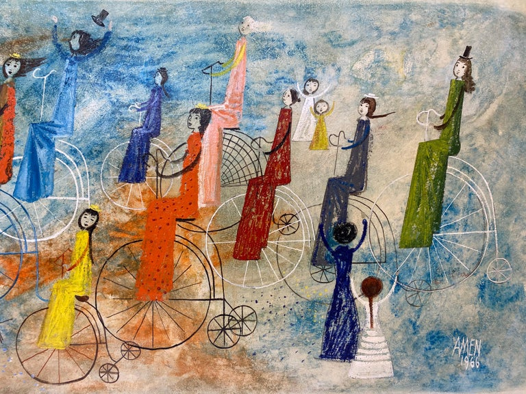 Irving Amen Girls Bicycle Parade Original Oil Painting c.1960s 6