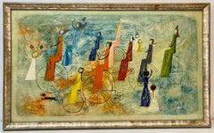 Irving Amen Girls Bicycle Parade Original Oil Painting c.1960s