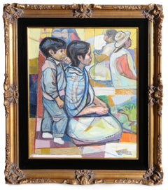 Kneeling Mother and Son, Framed Painting by Irving Amen