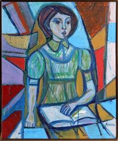 Reading Girl, Framed Painting by Irving Amen