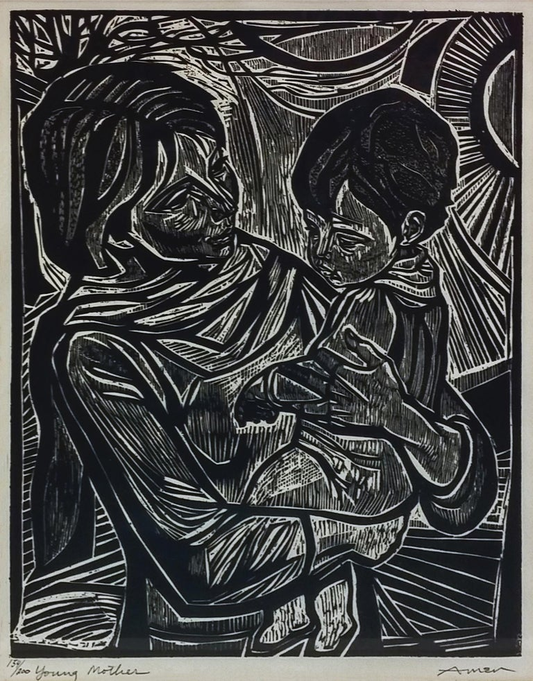 Irving Amen Figurative Print - YOUNG MOTHER
