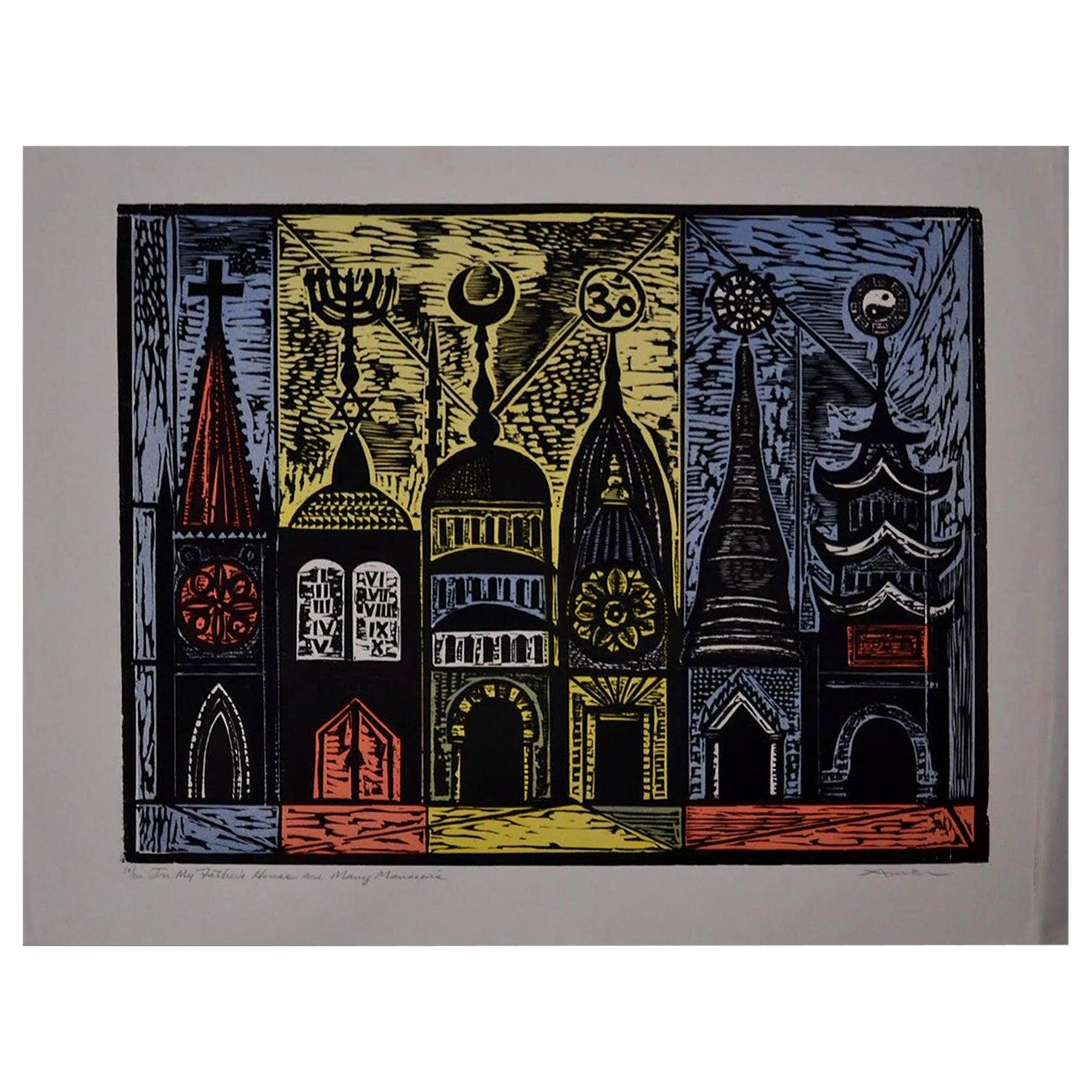 Irving Amen Signed Limited Edition Print in My Father's House Are Many Mansions