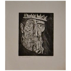 "Irving Amen Signed Limited Edition Woodcut Print ""King David"""