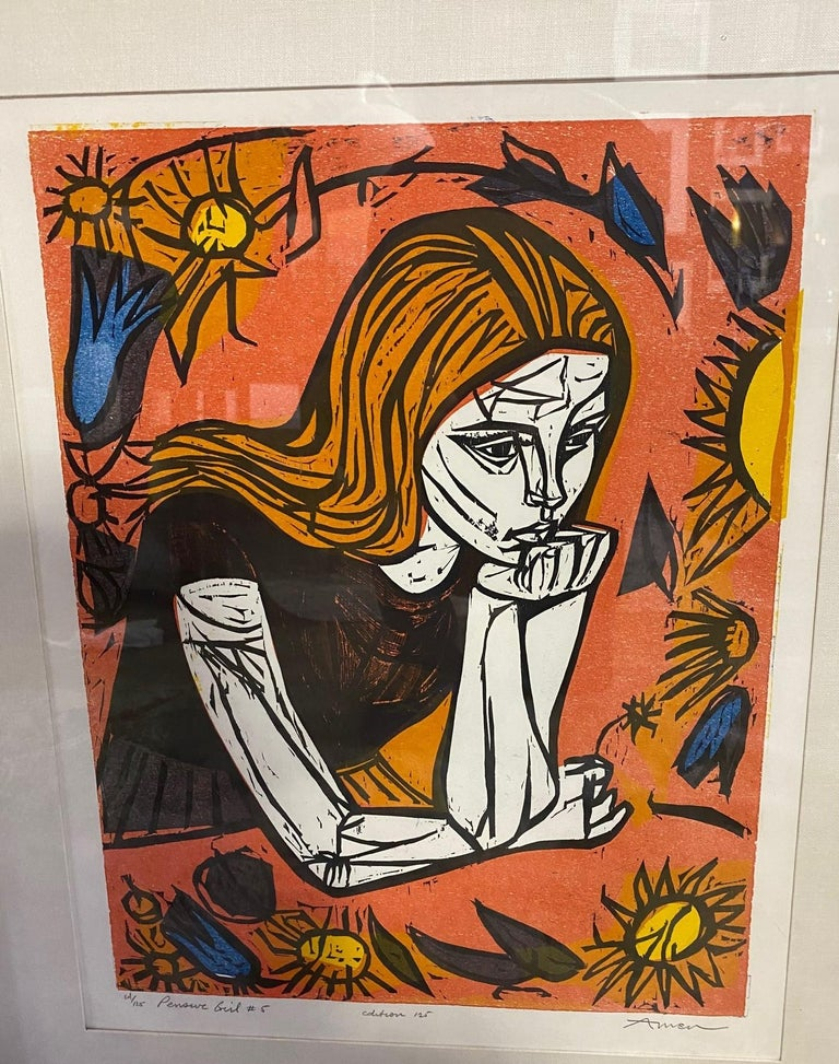 American Irving Amen Signed Mid-Century Modern Limited Edition Woodcut Print Pensive Girl