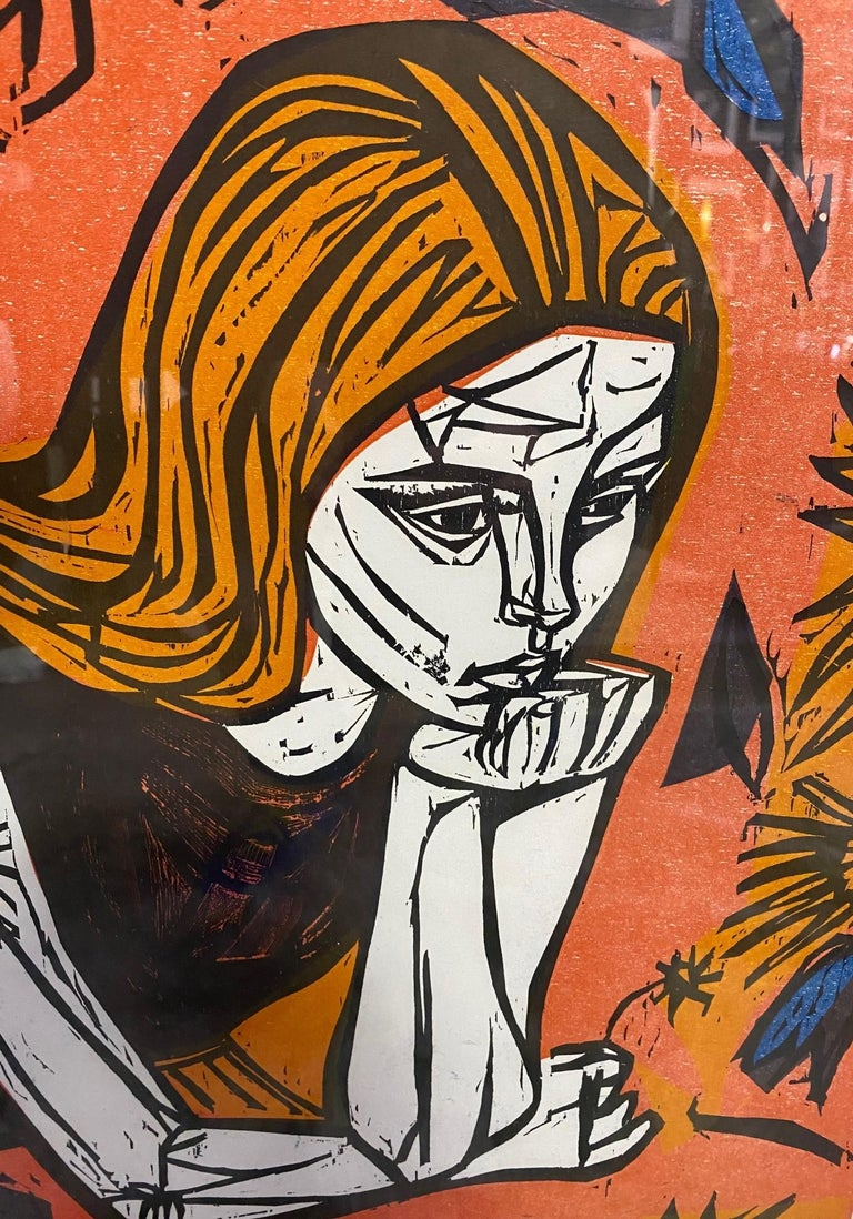 Irving Amen Signed Mid-Century Modern Limited Edition Woodcut Print Pensive Girl In Good Condition In Studio City, CA