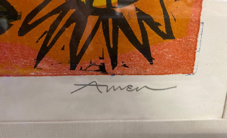 Irving Amen Signed Mid-Century Modern Limited Edition Woodcut Print Pensive Girl 1