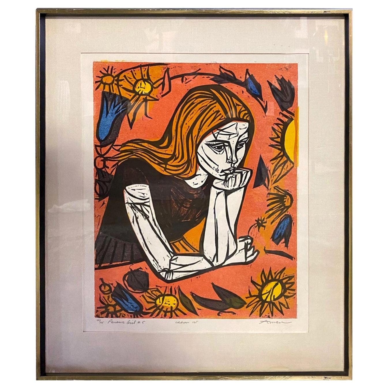 Irving Amen Signed Mid-Century Modern Limited Edition Woodcut Print Pensive Girl