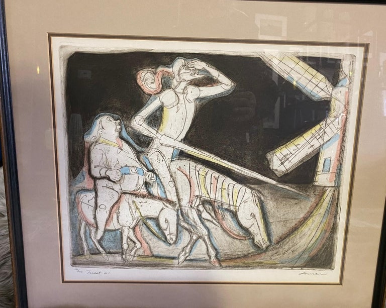 American Irving Amen Signed Mid-Century Modern Limited Edition Woodcut Print Quest #1 For Sale