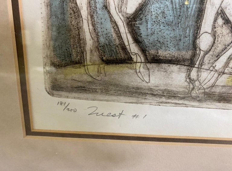 Irving Amen Signed Mid-Century Modern Limited Edition Woodcut Print Quest #1 For Sale 1