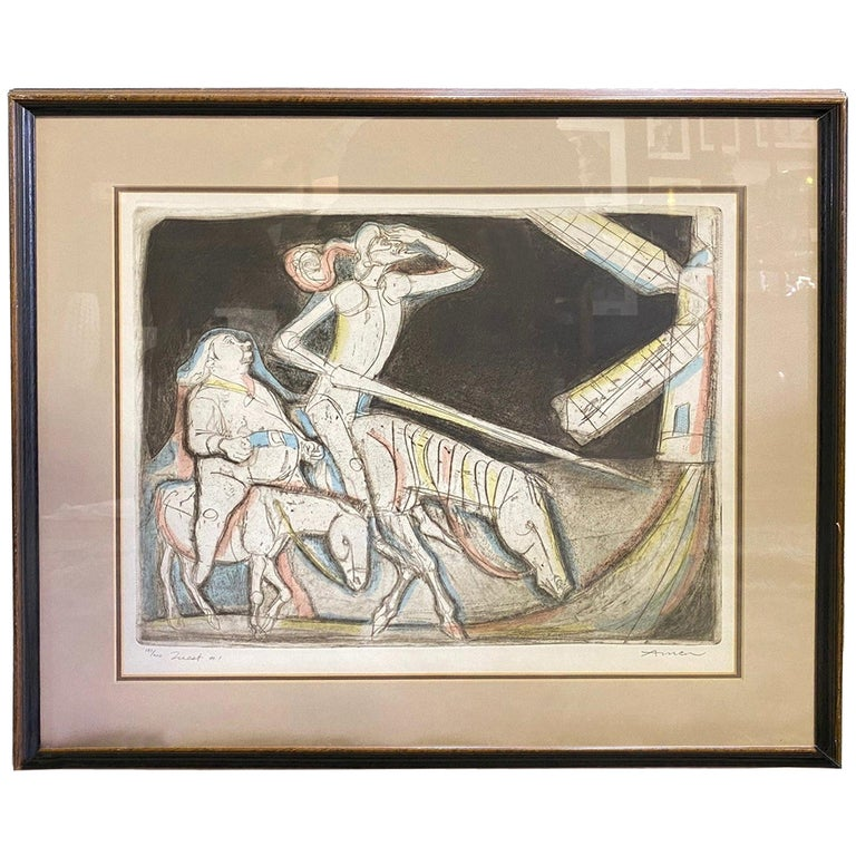 Irving Amen Signed Mid-Century Modern Limited Edition Woodcut Print Quest #1 For Sale