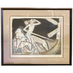 Irving Amen Signed Mid-Century Modern Limited Edition Woodcut Print Quest #1