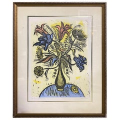 Irving Amen Signed Mid-Century Modern Limited Edition Woodcut Print Vase Flowers