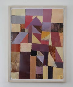Abstract Geometric Acrylic on Paper in Purples and Tans