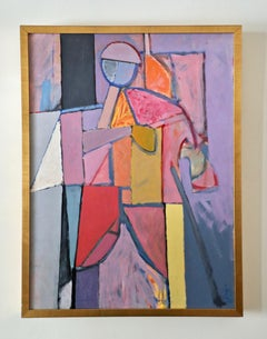 Irving Haynes, Abstract Figural Acrylic on Paper Laid to Board