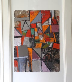 Multicolor Abstract Geometric Acrylic on Paper