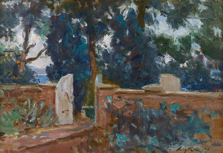 Irving Ramsey Wiles Landscape Painting - Garden Gate (on verso: Harbor Scene)