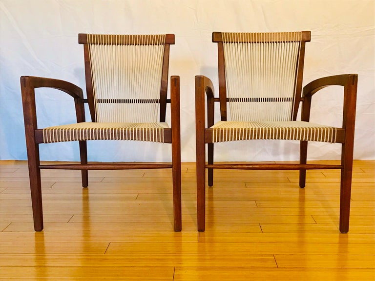 Mid-Century Modern Irving Sabo Studio Crafted Wood Chairs, 20th Century For Sale
