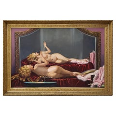 Irving Sinclair Monumental Reclining Nude with Pearls Original Oil Painting