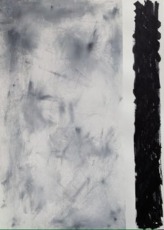 'Black on the side' with frame, Abstract Black White Grey Landscape