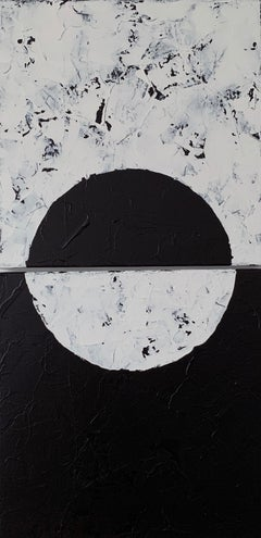 Couple, diptych, Black and White Abstract Painting