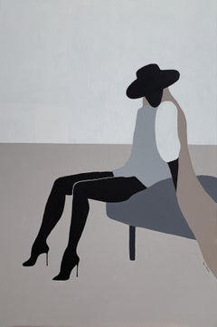 'Looking Forward', in Black and Beige Woman Abstract Minimalistic Portrait