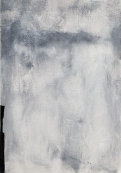 'Melted Ice 2.0' with frame, Abstract Black White Grey Landscape