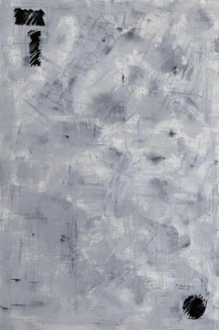 'Melted Ice', Black and White Abstract Landscape Painting