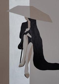 'Umbrella', in Black and Beige Woman Abstract Minimalistic Portrait