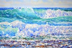 Ocean waves. Sailboats., Painting, Oil on Canvas