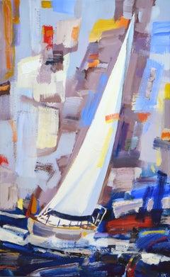 Sailboat 8., Painting, Acrylic on Canvas