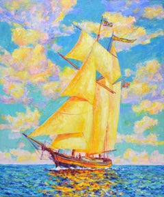 Sailboat, Painting, Oil on Canvas