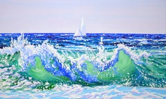 Sailing trip., Painting, Acrylic on Canvas
