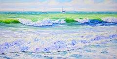 Sea.Sailboats. Waves., Painting, Acrylic on Canvas