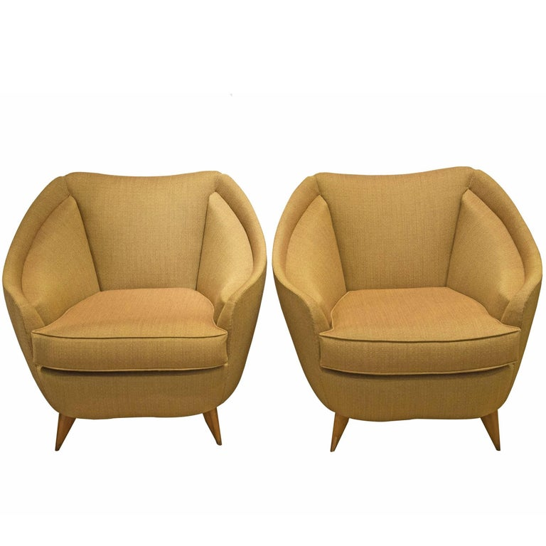 Isa, Pair of Armchairs in Fabric and Wood, Italy, circa 1950