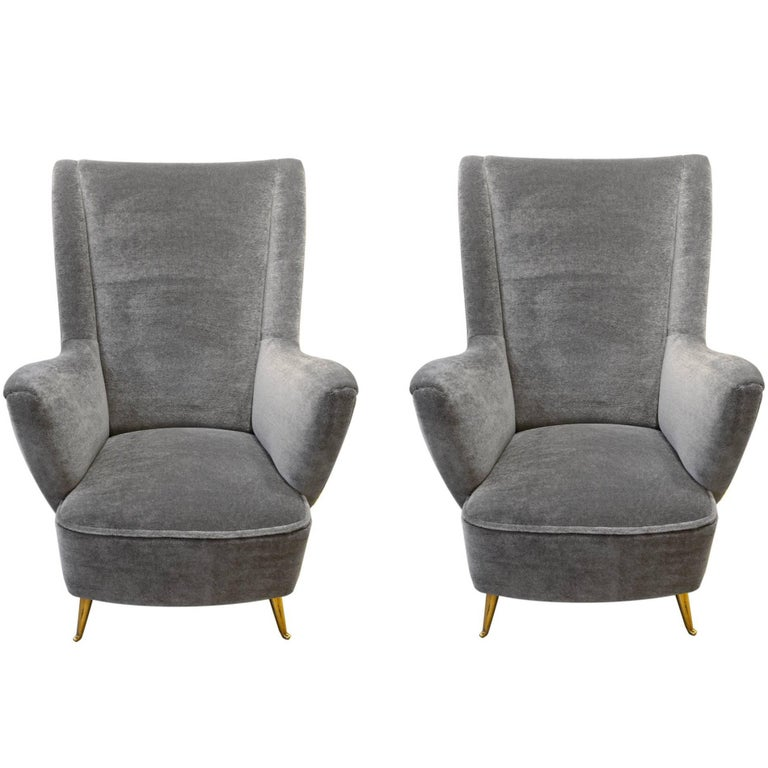 ISA, Pair of Armchairs in Velvet Mohair and Brass, Italy, circa 1950