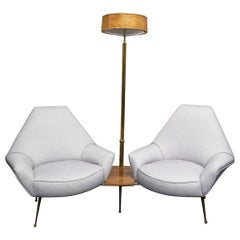 I.S.A. 1950s Living Room with Floor Lamp, Wood Brass Padded, 1950, Italy