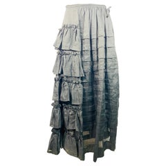 Isa Arfen Black Ruffle Maxi Skirt Size 10