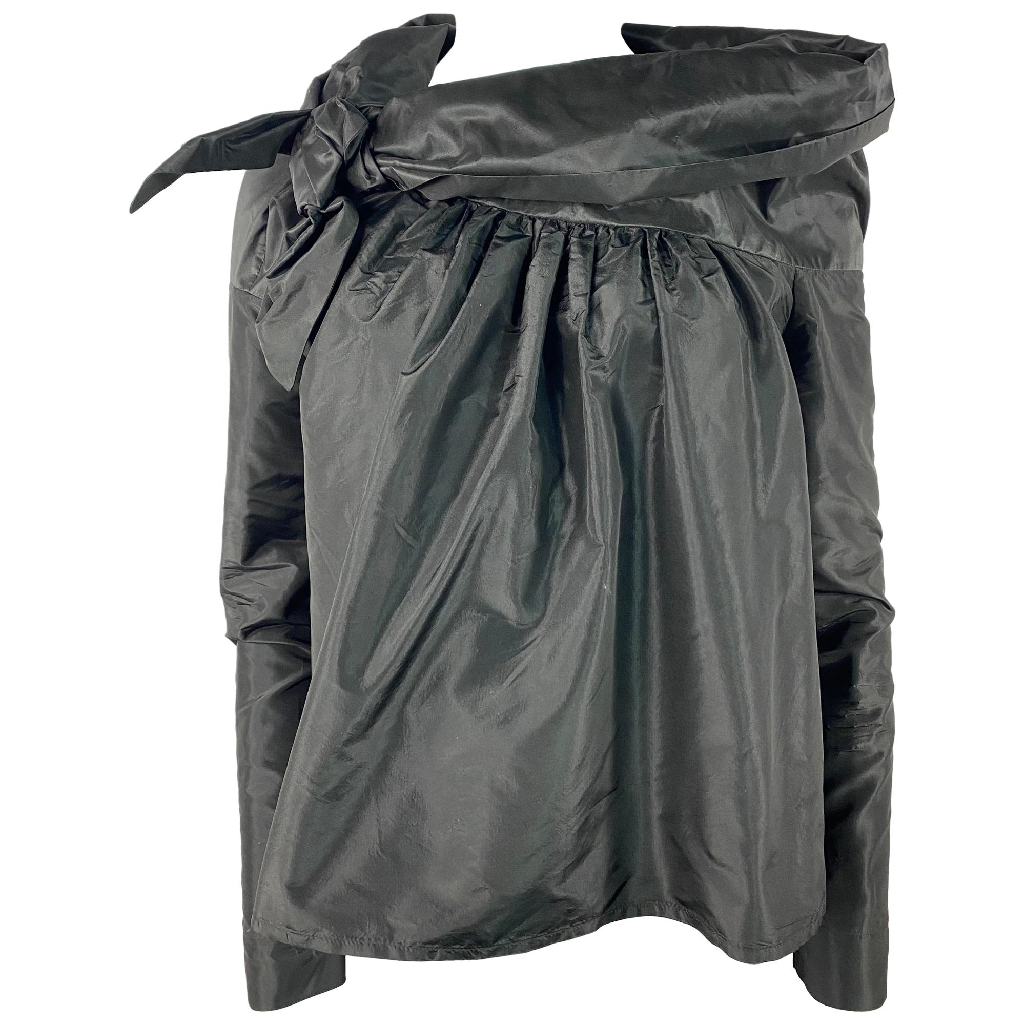 Isa Arfen Black Silk Long Sleeves Blouse Top, Size 8