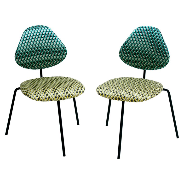 Isa Beramo Midcentury Pair of Black Lacquered Metal Cotton Satin Italian Chairs For Sale