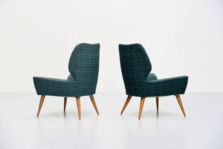 Mid-Century Modern Isa Bergamo Club Chairs in Original Fabric, Italy, 1950 For Sale