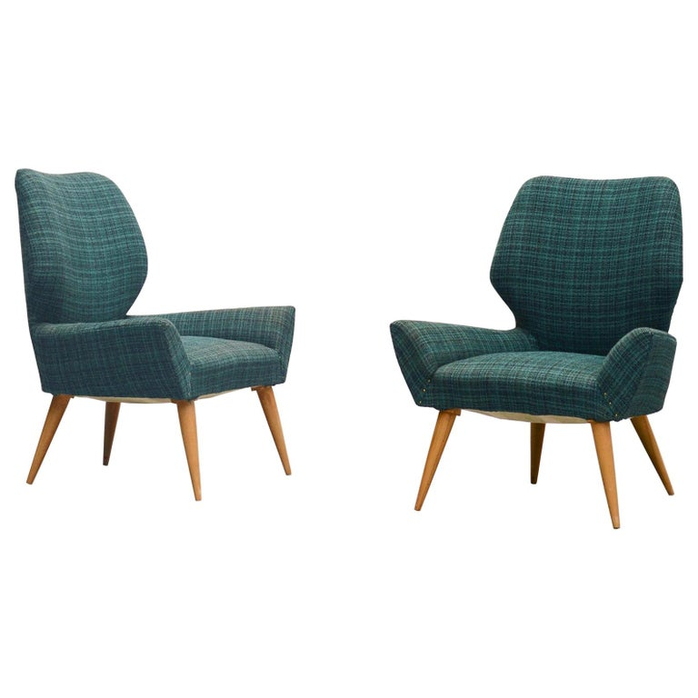 Isa Bergamo Club Chairs in Original Fabric, Italy, 1950 For Sale