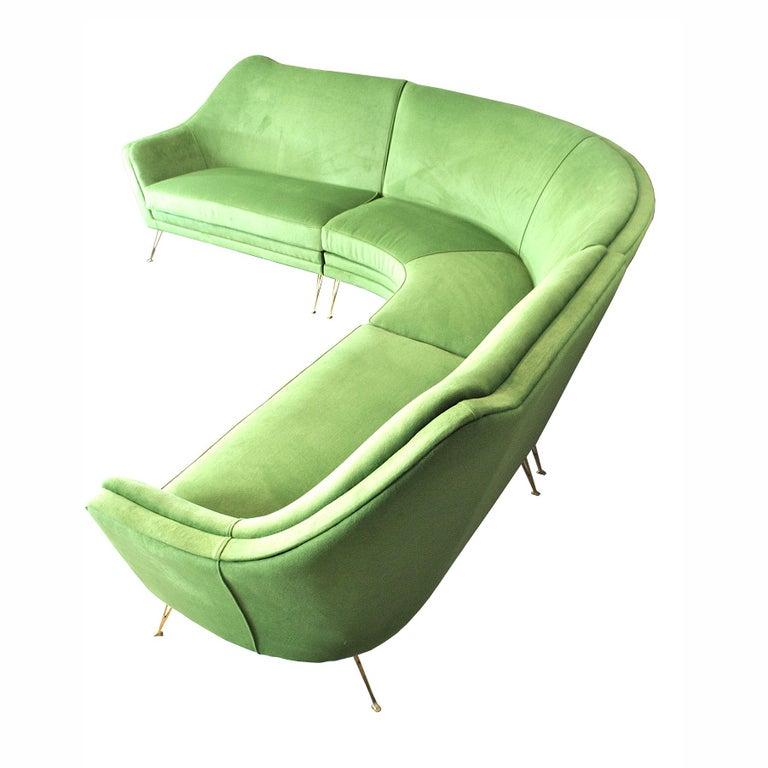 Brass ISA Bergamo Corner Sofa from the 1950s For Sale