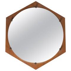 ISA Bergamo Hexagonal Teak Midcentury Wall Mirror, 1960s