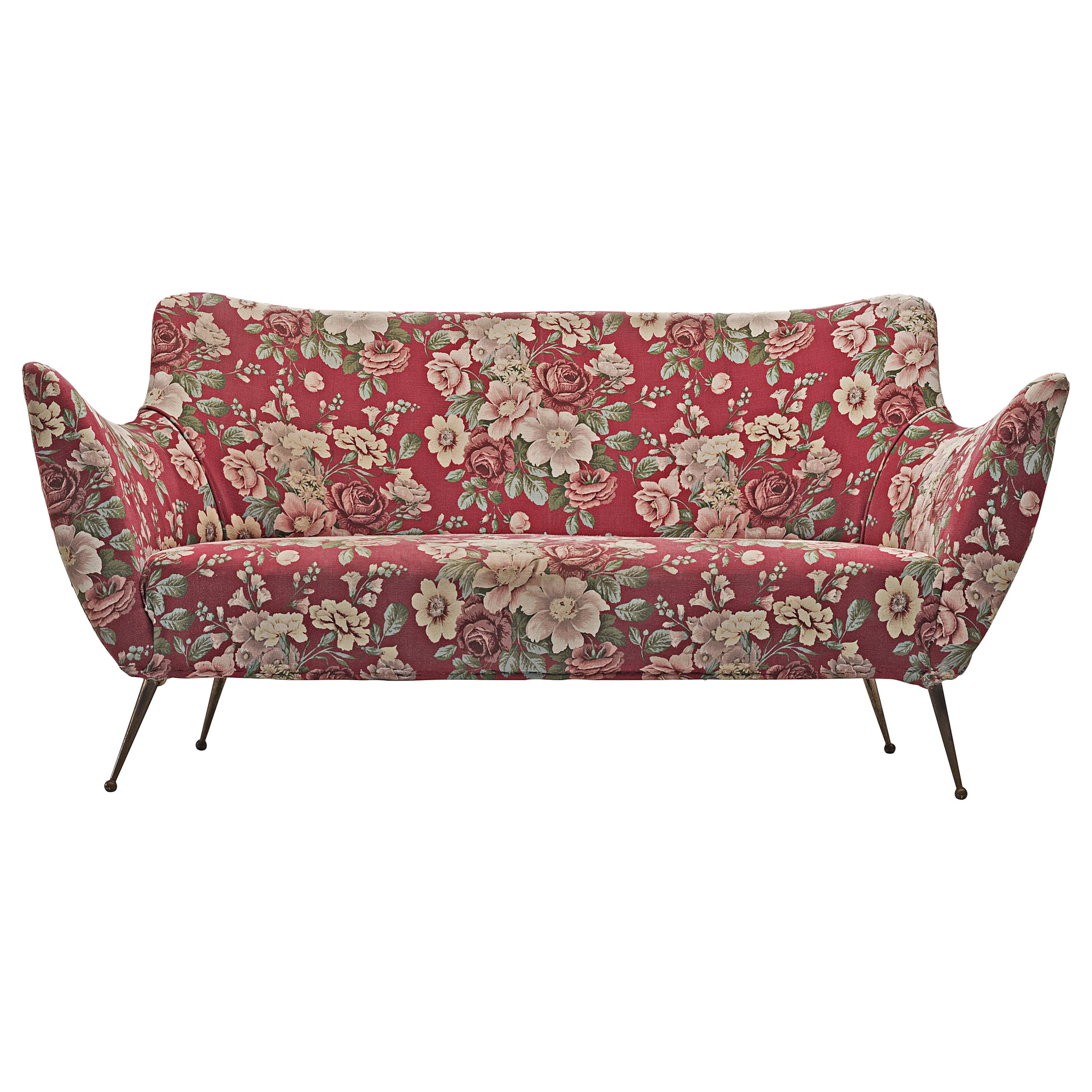 ISA Bergamo Sofa in Red Floral Fabric