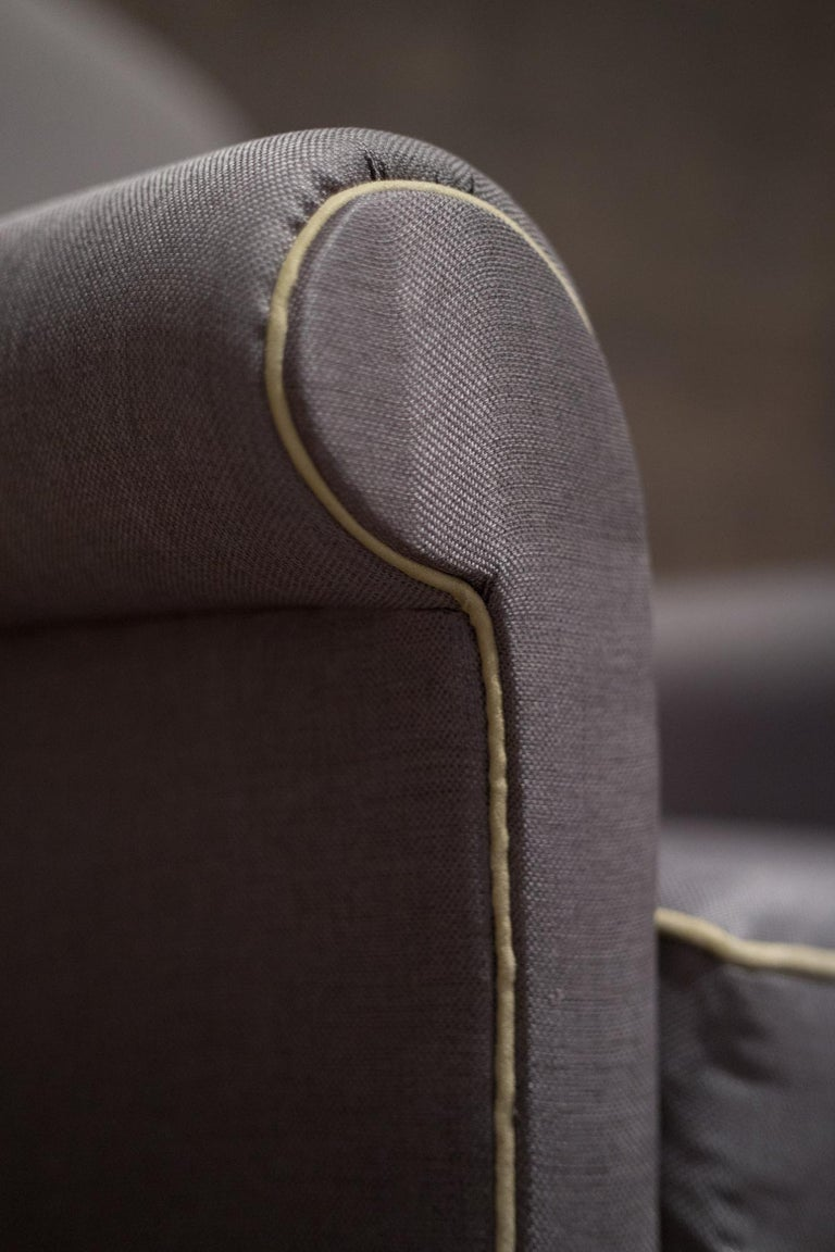 Polished ISA Bergamo Midcentury Grey and Gold Italian Pair of Armchairs, 1950 For Sale
