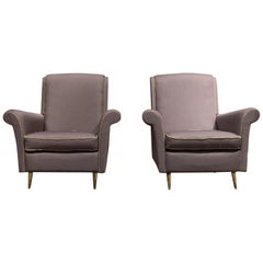 ISA Bergamo Midcentury Grey and Gold Italian Pair of Armchairs, 1950
