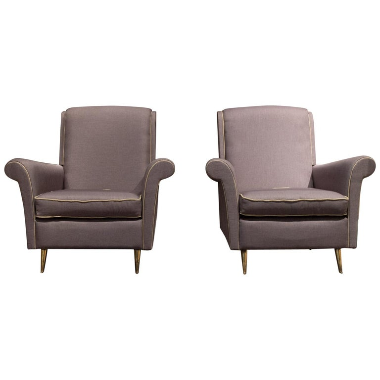 ISA Bergamo Midcentury Grey and Gold Italian Pair of Armchairs, 1950 For Sale
