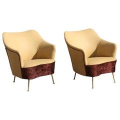 ISA Bergamo Pair of Armchairs Italian Design Mid-Century Modern Brown Brass Feet