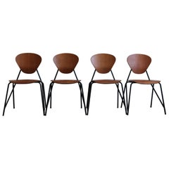 Isa Midcentury Modern Design Italian Teak Dining Chairs, 1960s